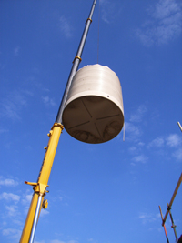 Watertank going into place