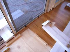 Edge trimming the bamboo flooring