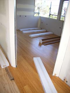 Office compressed bamboo floor complete