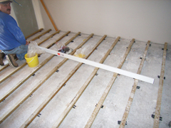 Floor battens for compressed bamboo planks